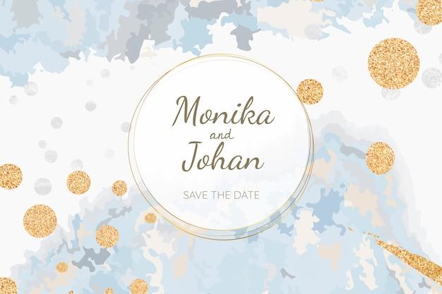 パステル調の結婚式の招待カードベクトル