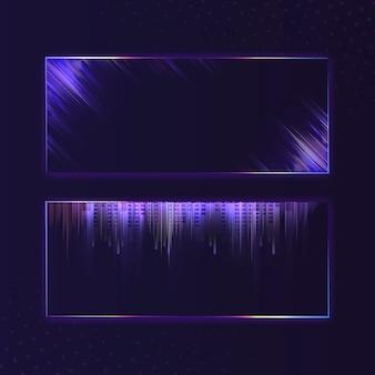空白の紫紫色の長方形のネオン看板ベクトル