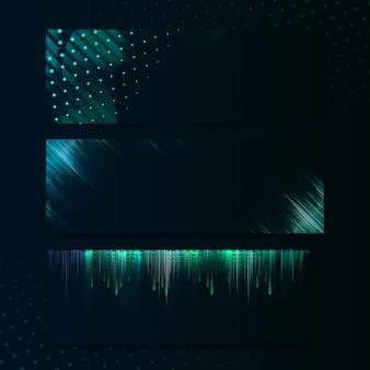空白の緑色の長方形バナー看板ベクトル