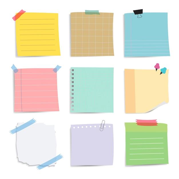 カラフルなメモ用紙メモベクトルセット