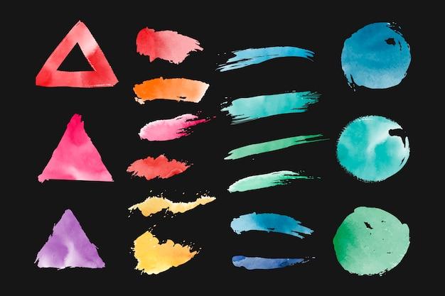 Акварельные геометрические фигуры векторный набор