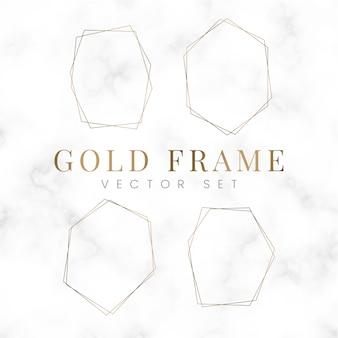 Золотой пустой шестиугольник кадр векторный набор