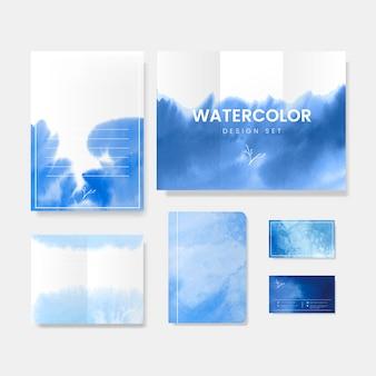 青い水彩風バナーベクトル