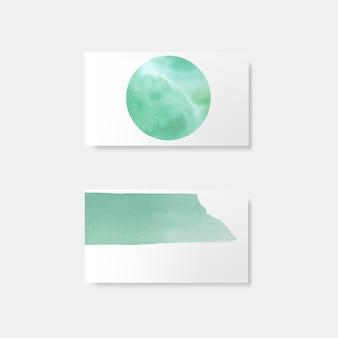 ターコイズブルーの水彩風カードベクトル