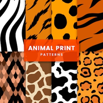 Набор бесшовных животных печати шаблонов векторов