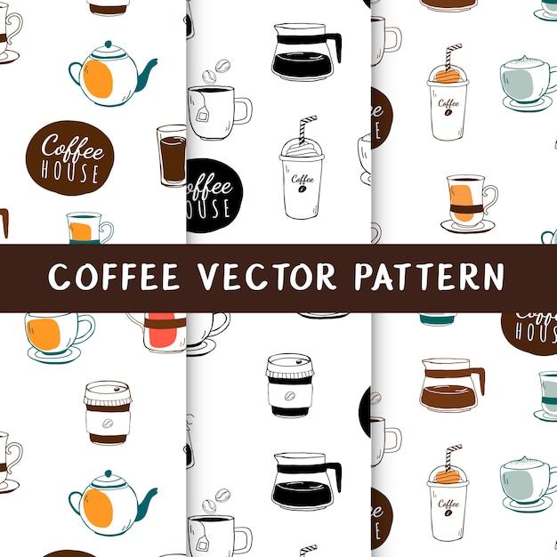 コーヒーハウスとカフェのシームレスな背景のベクトル