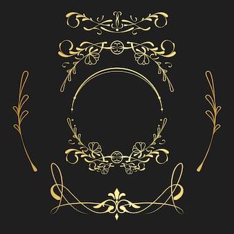Набор старинных золотых элементов стиля модерн вектора
