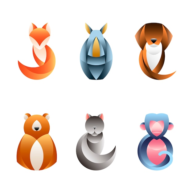幾何学的な動物デザインのベクトルのセット