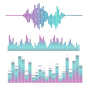 Звуковая волна эквалайзер векторный дизайн набор