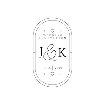 結婚式の招待状バッジデザインのベクトル