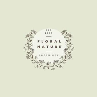 花の自然バッジデザインベクトル