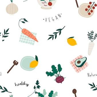 健康的なビーガンのシームレスな壁紙ベクトル