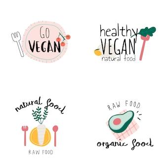 健康的なビーガンのロゴのベクトルのセット