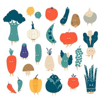 Различные органические растительные персонажи мультфильмов векторный набор
