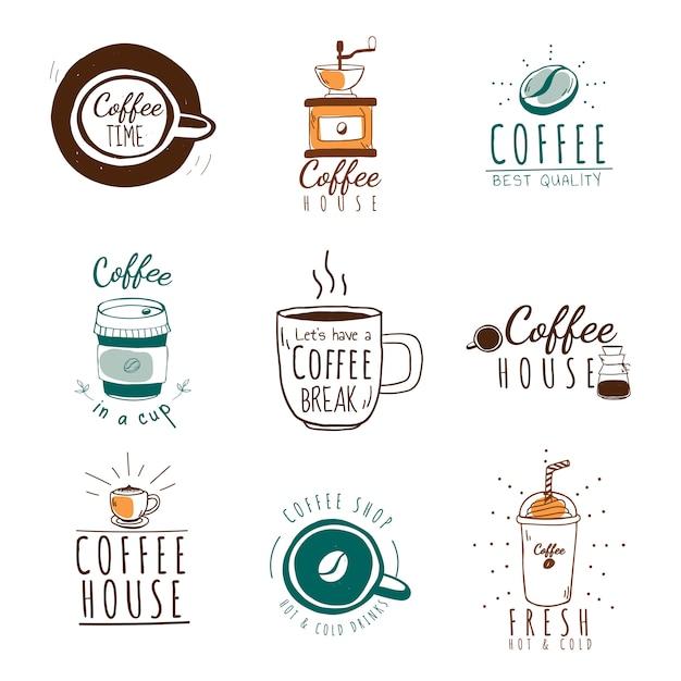 コーヒーショップのロゴのベクトルのセット