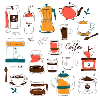 カフェとコーヒーの家パターンベクトル