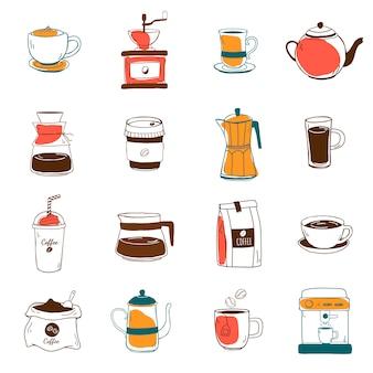 コーヒーショップのアイコンベクトルのセット