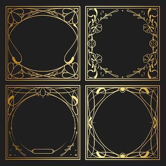 ビンテージゴールデンアールヌーボー要素ベクトルのセット