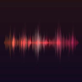 Красная звуковая волна эквалайзер векторный дизайн