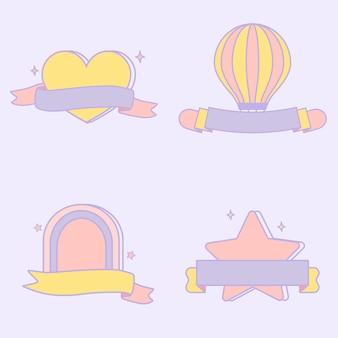 Симпатичные пастельные эмблемы векторный набор