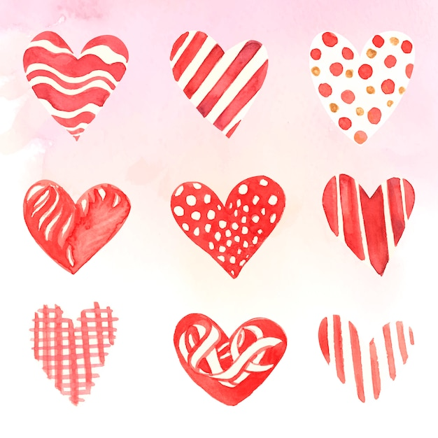 Сердце иконки акварельные иллюстрации набор