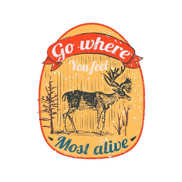 野生の鹿のロゴの図