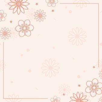 オレンジ色の花模様