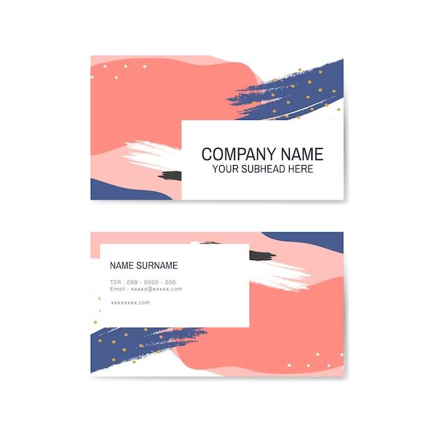 Красочная визитная карточка с узором мемфис