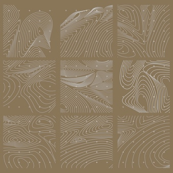 白と茶色の抽象的な等高線地図セット