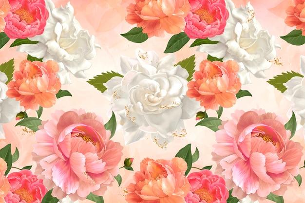 牡丹柄の壁紙