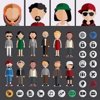 Разнообразие сообщества людей плоский дизайн иконок концепция