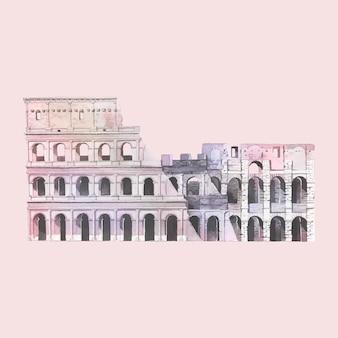 ローマのローマコロシアムの水彩イラスト