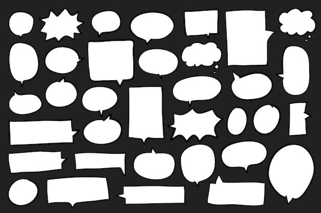 黒の背景のベクトルにスピーチの泡のコレクション