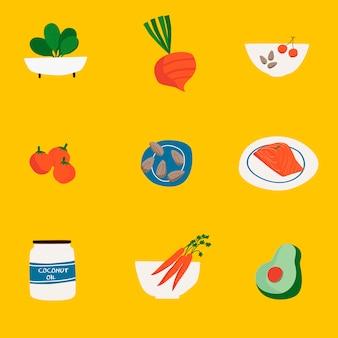 Набор векторных иконок органических продуктов питания