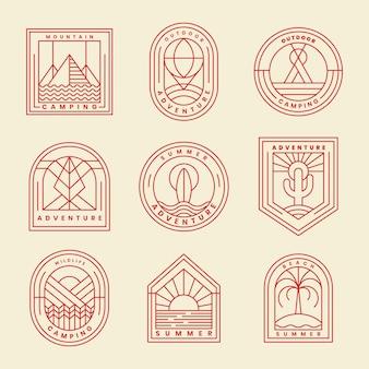 Набор приключений логотип вектор