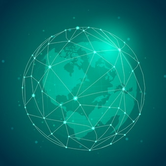 ワールドワイド接続緑の背景イラスト