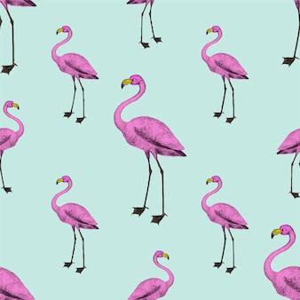 Обои розовые фламинго