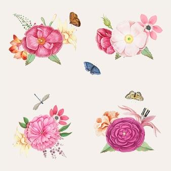Цветущие розовые цветы
