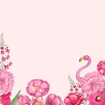 Цветочная розовая рамка с фламинго