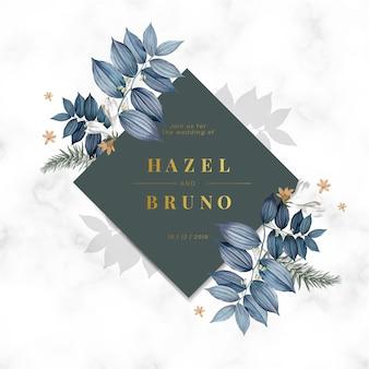 青い花の結婚式の招待カード