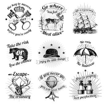 Коллекция старинных логотипов и наклеек