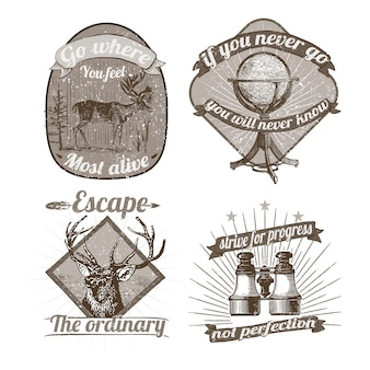 ビンテージのロゴとステッカーのコレクション