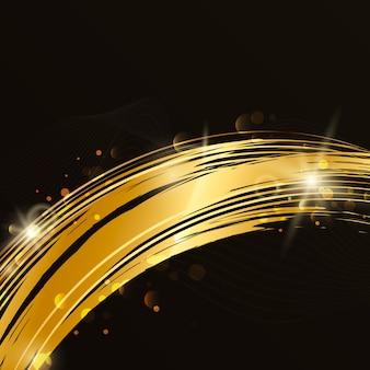 金の波の抽象的な背景イラスト