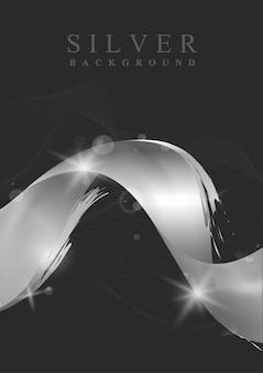 銀の波の抽象的な背景イラスト
