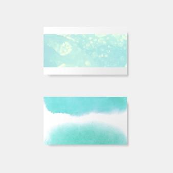 ターコイズ水彩風カードベクトル