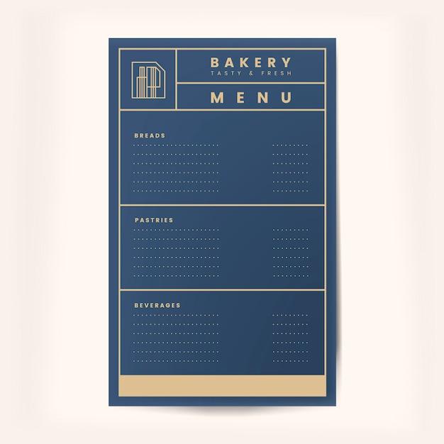Вектор шаблон меню выпечки и напитков