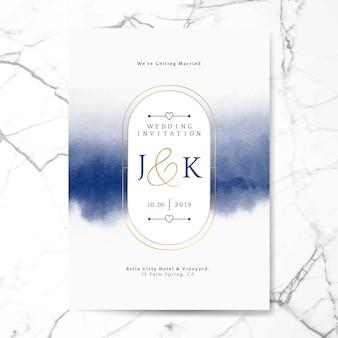 Синий свадебный пригласительный билет вектор