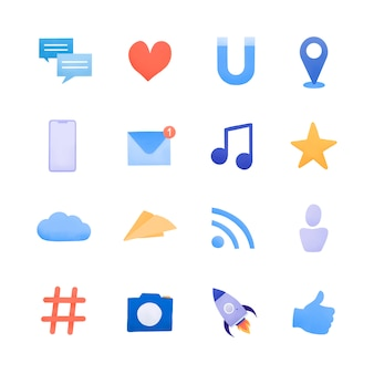 ソーシャルメディアのアイコンセットベクトル