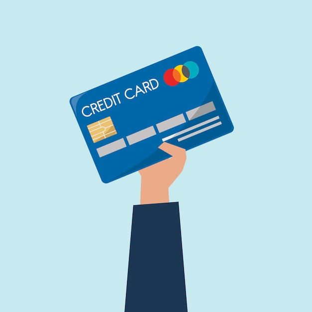 クレジットカードを持っている手のイラスト