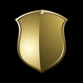Золотой барочный щит элементы вектора